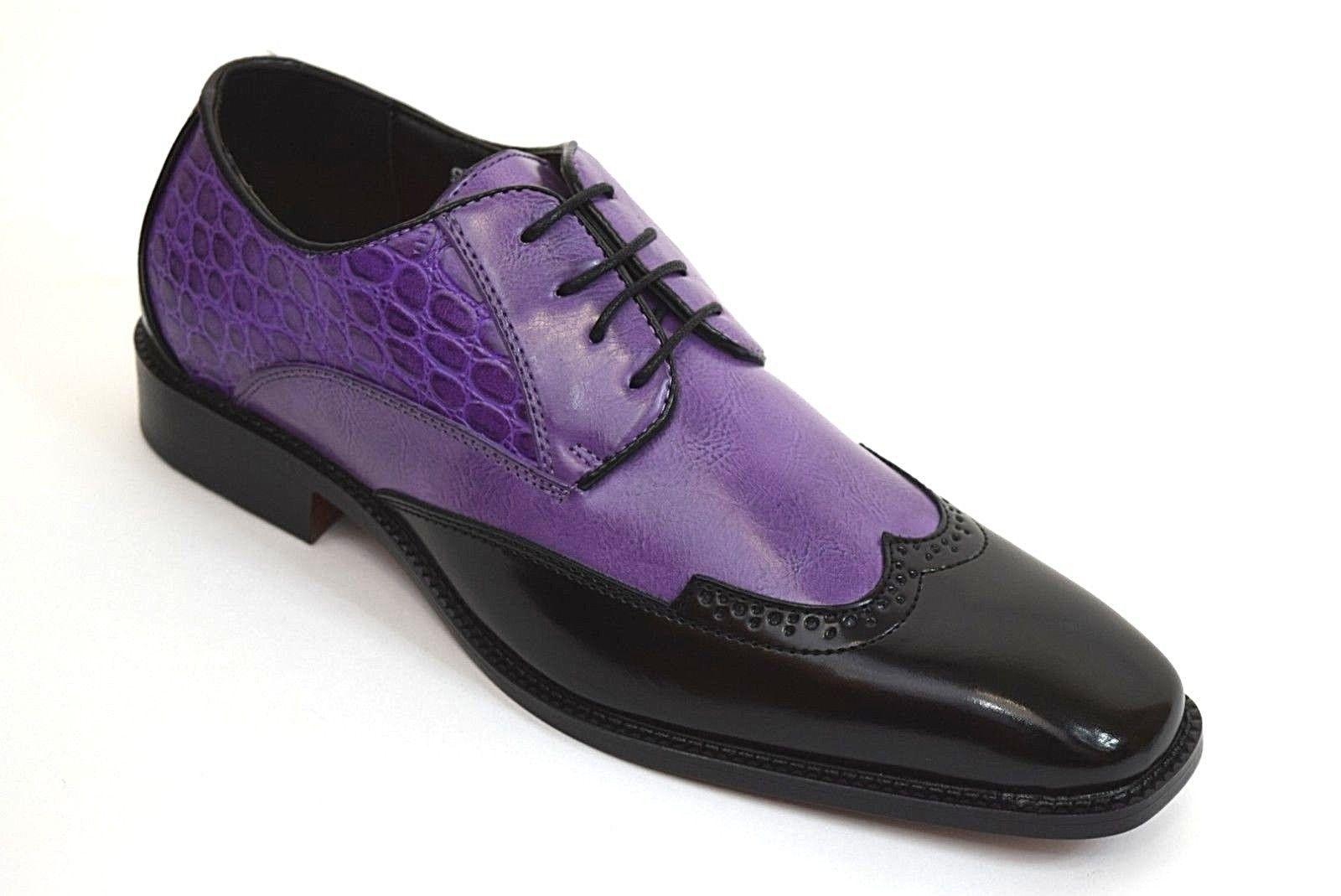 Mens Dress Shoes Black Purple Wing Tip Lace Up Gator Print Antonio Cerrelli 6680 Mens Black Dress Shoes Dress Shoes Men Shoes