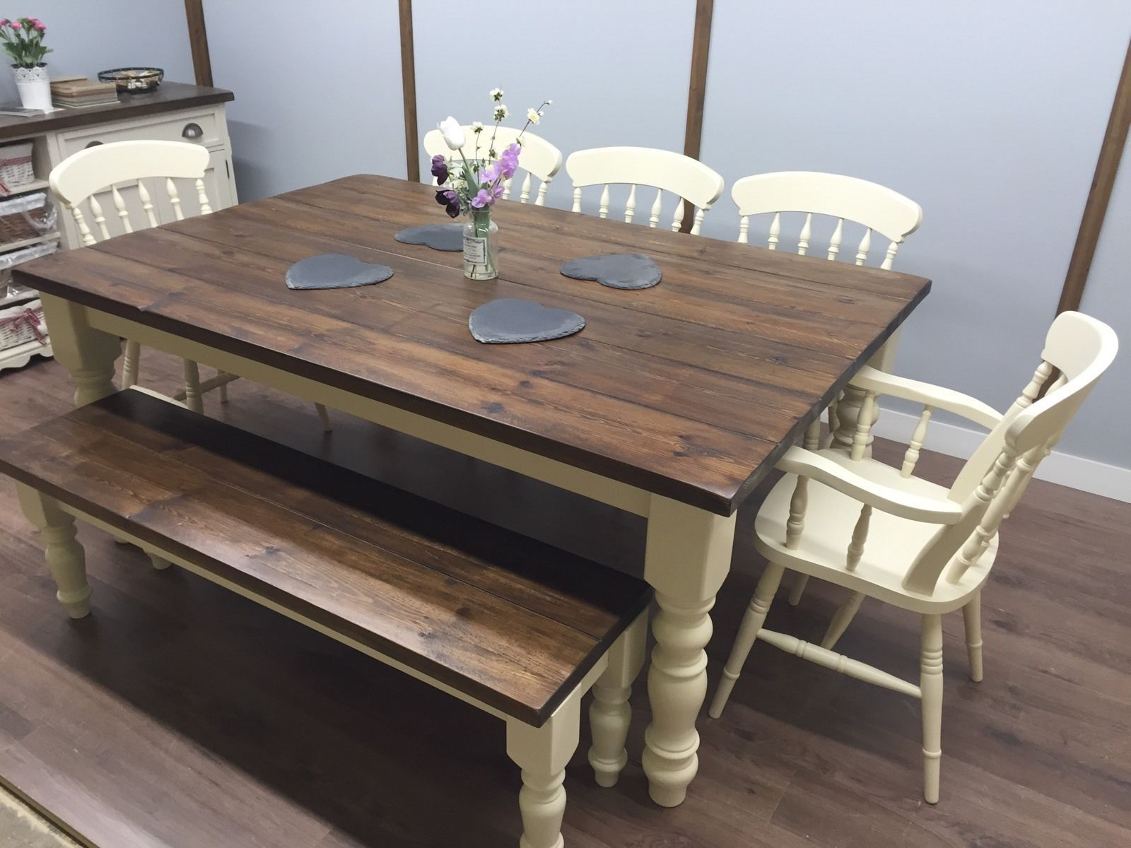 6ft X 4ft Farmhouse Table 5 Chairs Bench Rustic Oak Pine Country Rustic Kitchen Tables Dining Table Rustic Rustic Kitchen