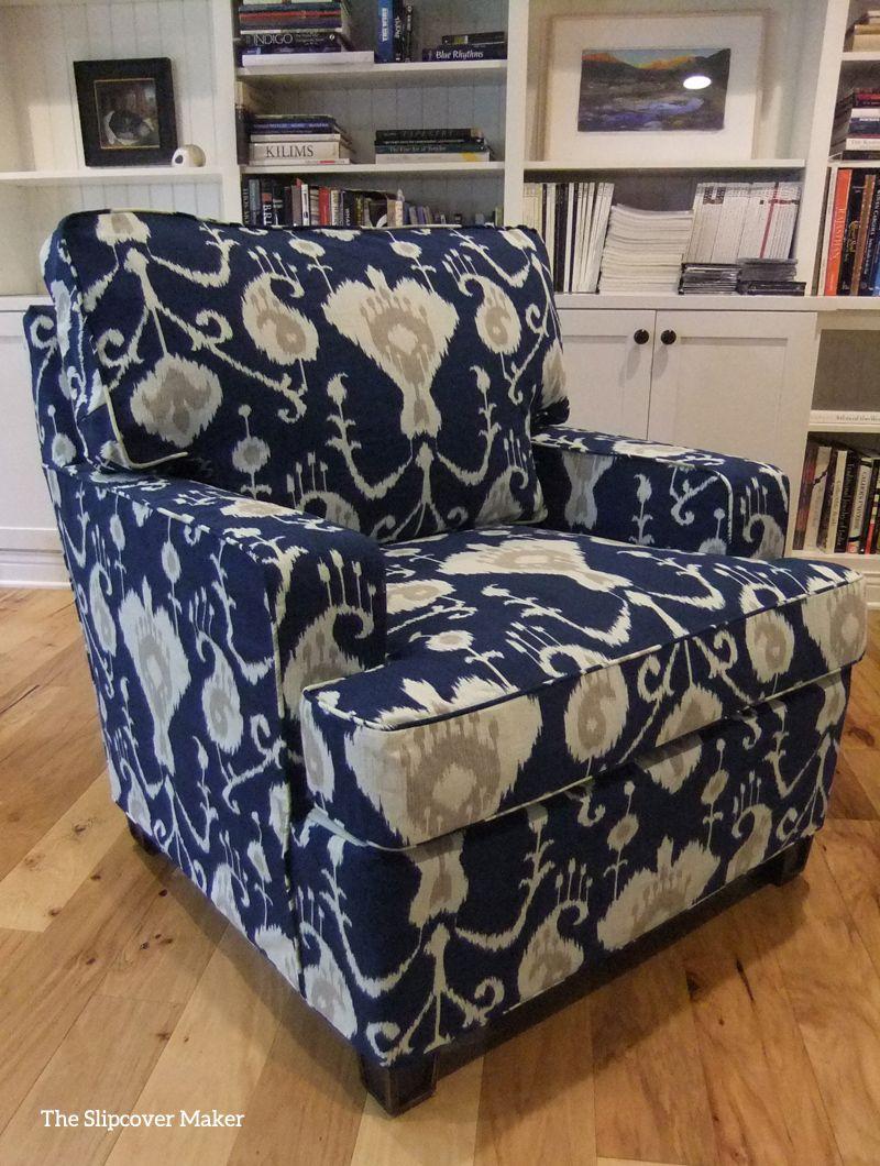 Slipcover Made With Magnolia Java Ikat Navy Blue This Medium