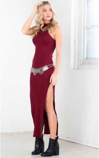 Silhouette Maxi Dress in Burgandy