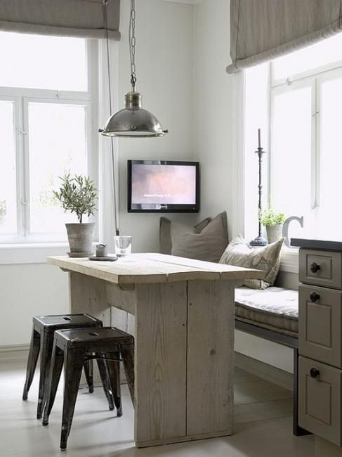 Cute Cosy E Saver Window Seat With Rustic Timber Table And A Pair Of Stools There S Even Enough Room Left Over For Telly