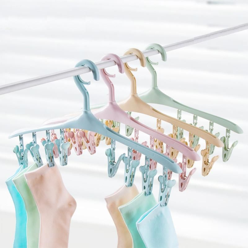 Robe Hooks 12pcs Colorful Clothespins Hook Laundry Clips Multipurpose Bra Socks Hanger Pegs Great Value