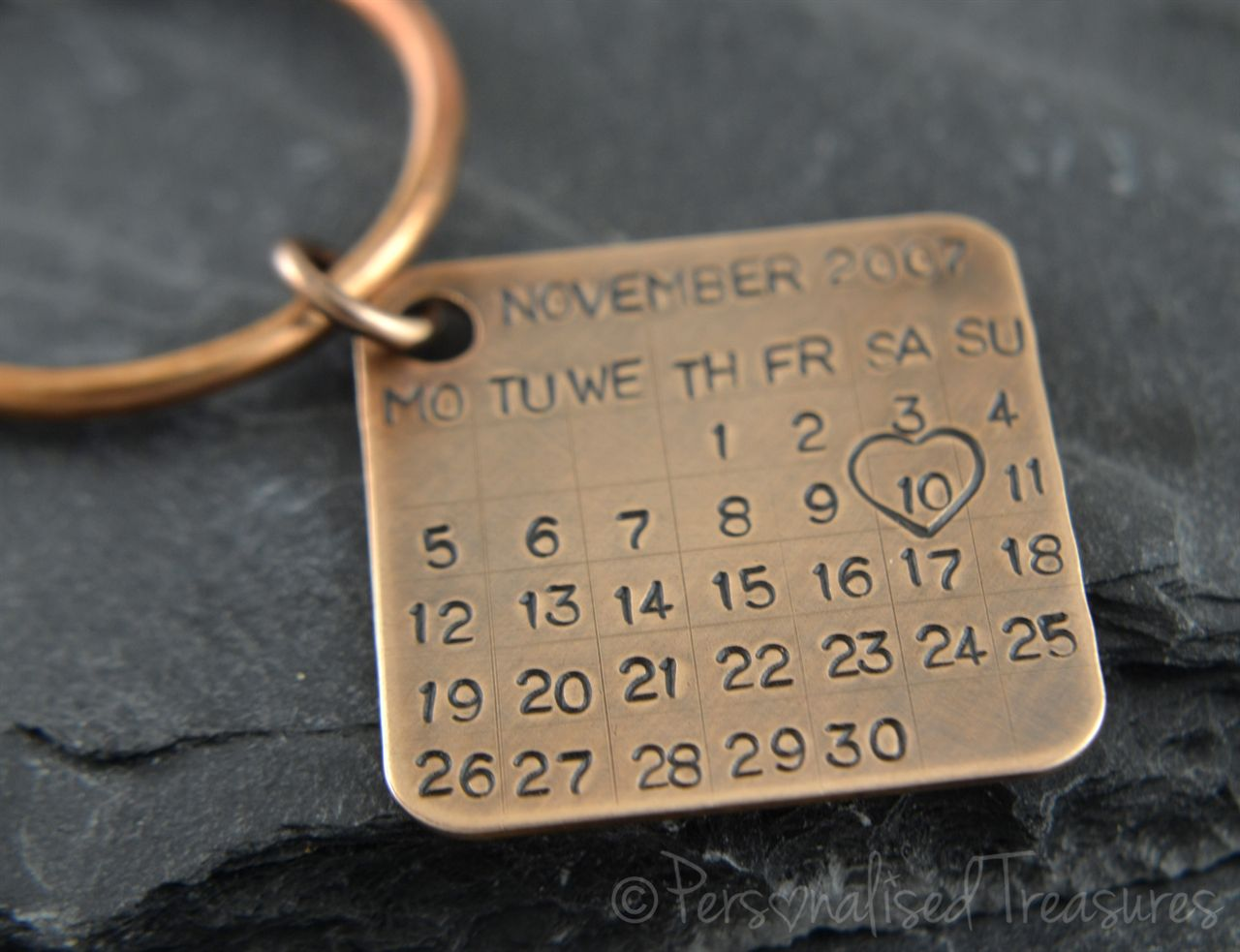 Personalised Treasures. Pure Bronze Personalised Calendar Keyring. Great gift for 8th or 19th wedding anniversary.