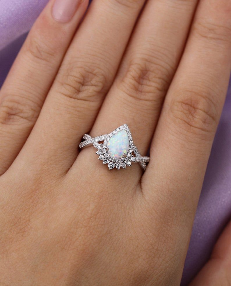 Vintage Opal Engagement Ring Set White Gold Women Unique Pear Etsy In 2020 Engagement Rings Opal Opal Engagement Ring Set Vintage Opal Engagement Ring