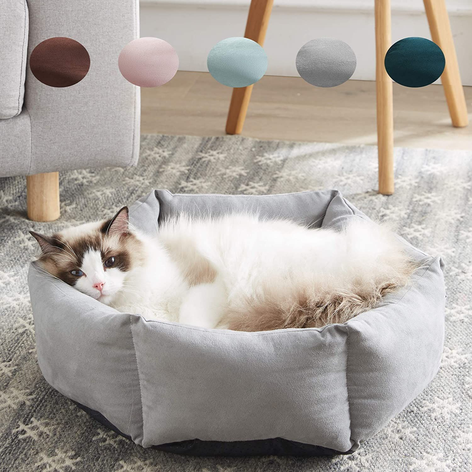 WESTERN HOME WH Cat Beds for Indoor Cats Round Soft