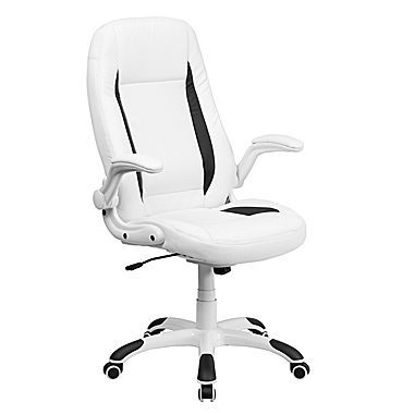 Flash Furniture High Back Leathersoft Executive Chair Flip Up Arms White White Office Chair Leather Office Chair Executive Office Chairs
