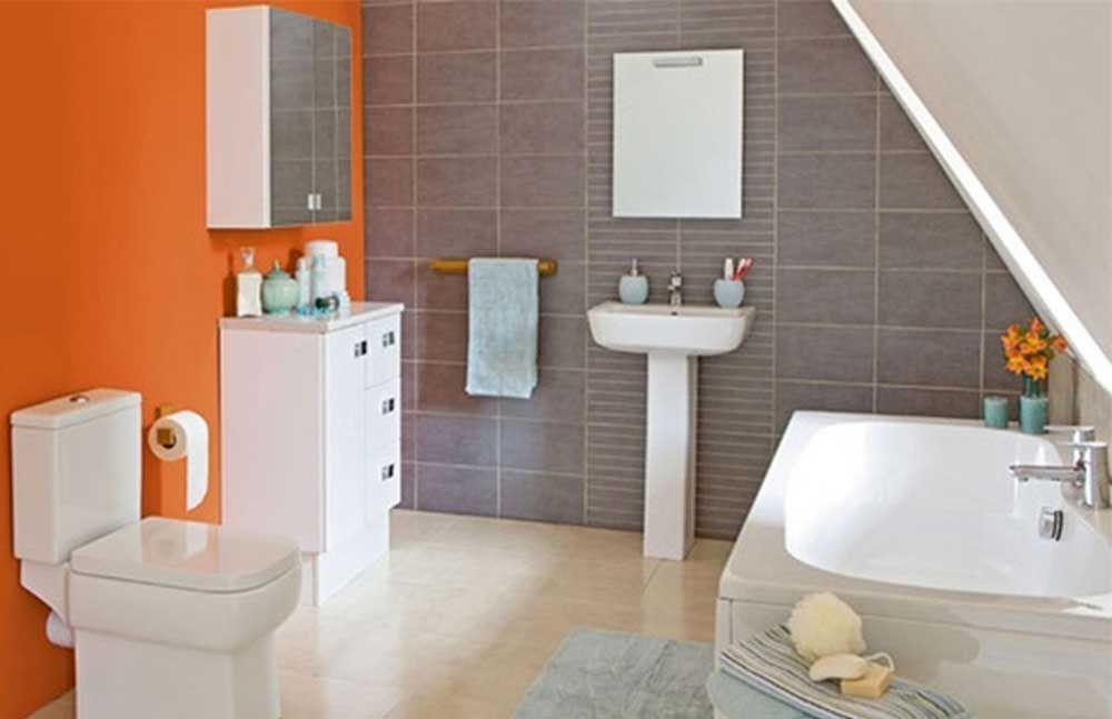 Orange Paint Ideas To Make Your Bathroom So Comfortable Wiki Homes Bathroom Wall Cabinets Orange Bathrooms Designs Cabinet Design