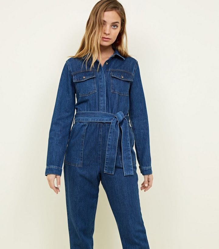 036b238d52d Petite Blue Denim Long Sleeve Utility Jumpsuit