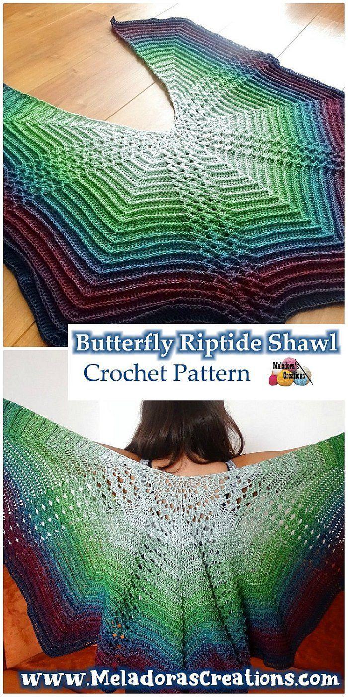 Butterfly Shawl Crochet Pattern - Butterfly Riptide Shawl - Free Crochet Pattern - Meladora's Creations