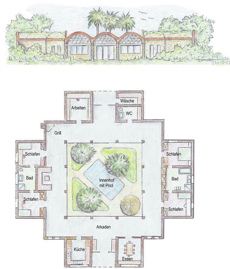 Casa com jardim e piscina interior planos casa for Planos de interiores