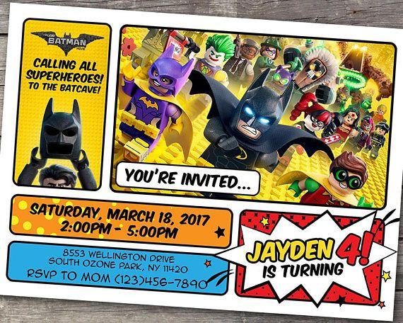 Lego Batman Invitation Lego Batman Birthday Lego Movie Party Boy