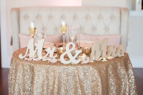 Gold Sparkle Wedding Tablecloth, Mr And Mrs Sign