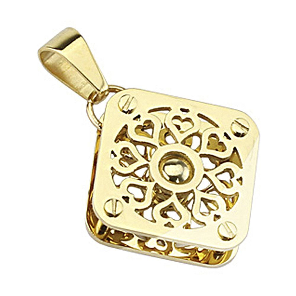 Spikes 316L Stainless Steel Gold IP Multi Heart 3D Pendant