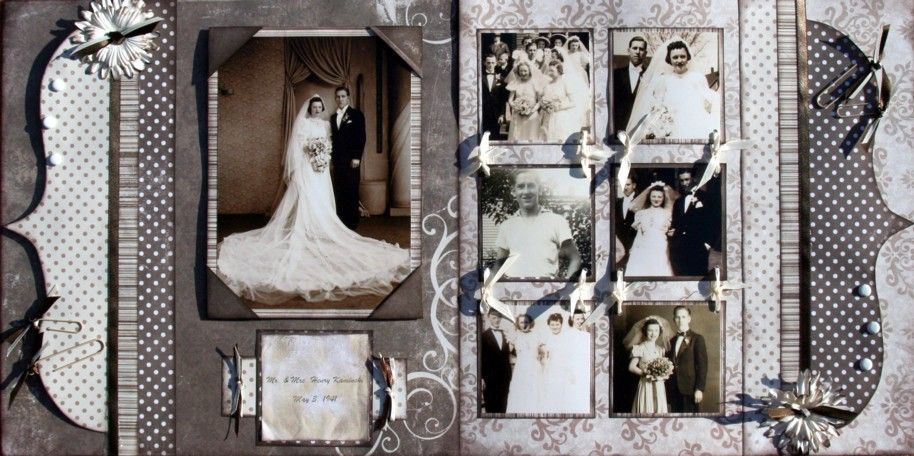Wedding Scrapbook Pages Kit or Premade Pre Cut with  scrapbooking ideas on park wedding   Brown Paper Vintage Wedding  . Premade Wedding Scrapbook. Home Design Ideas