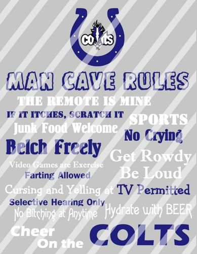 Indianapolis Colts Man Cave Rules Wall Sign Printable Digital File ...