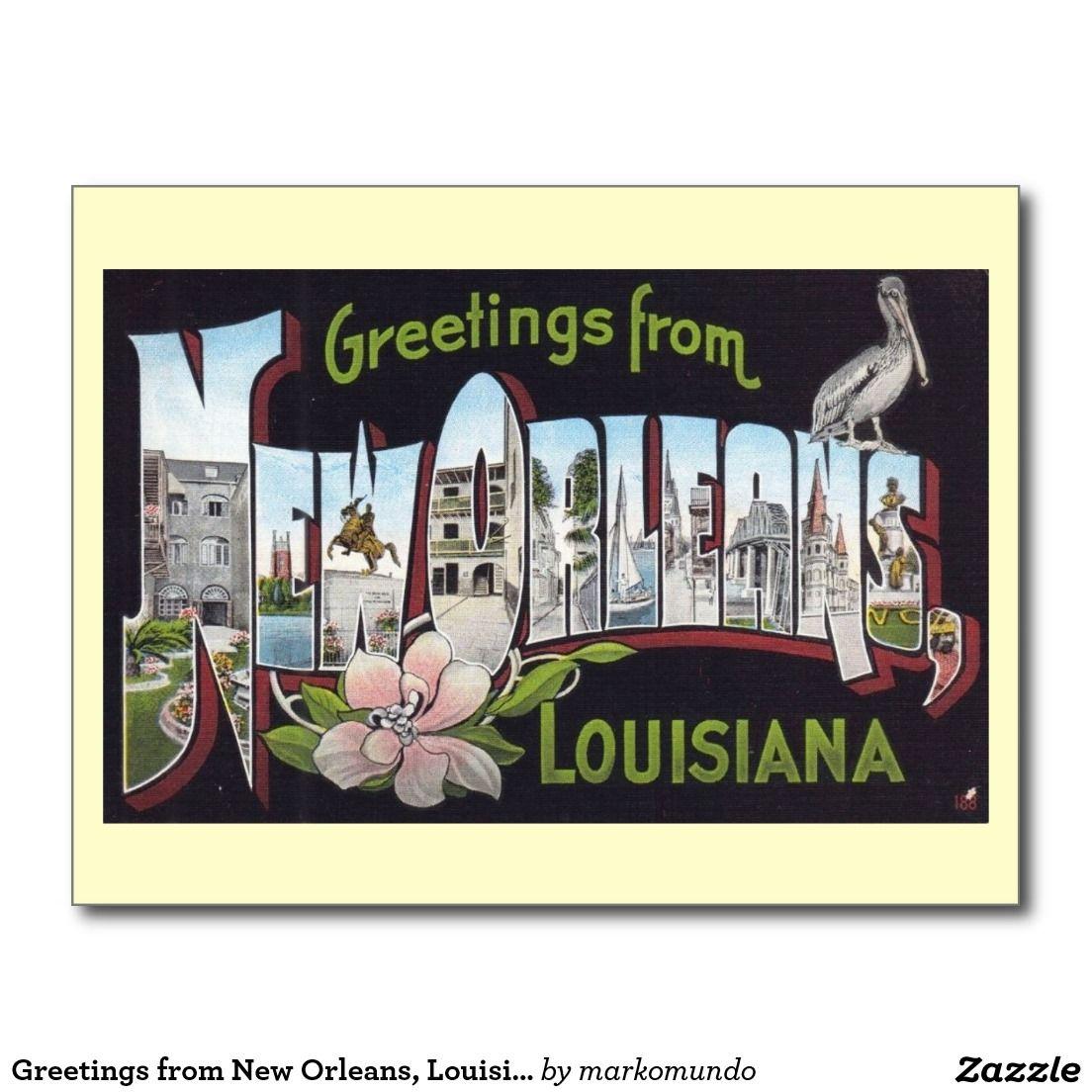 Greetings From New Orleans Louisiana Vintage Postcard Vintage