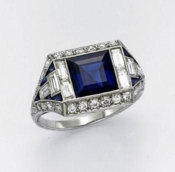 Art Deco Square Sapphire, Diamond and Platinum Vintage Ring - Primavera Gallery,  #Art #Artdecoengagementringsquare #Deco #Diamond #Gallery #Platinum #Primavera #Ring #Sapphire #Square #Vintage