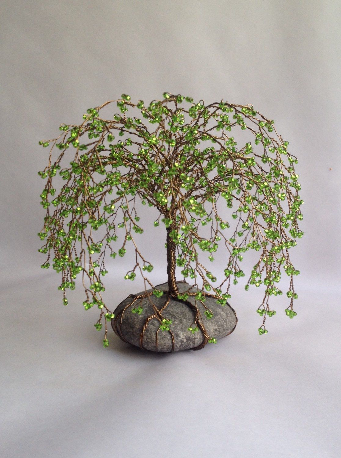 Weeping Willlow Tree Scuplture Beaded Decoration Unique gift Glass ...