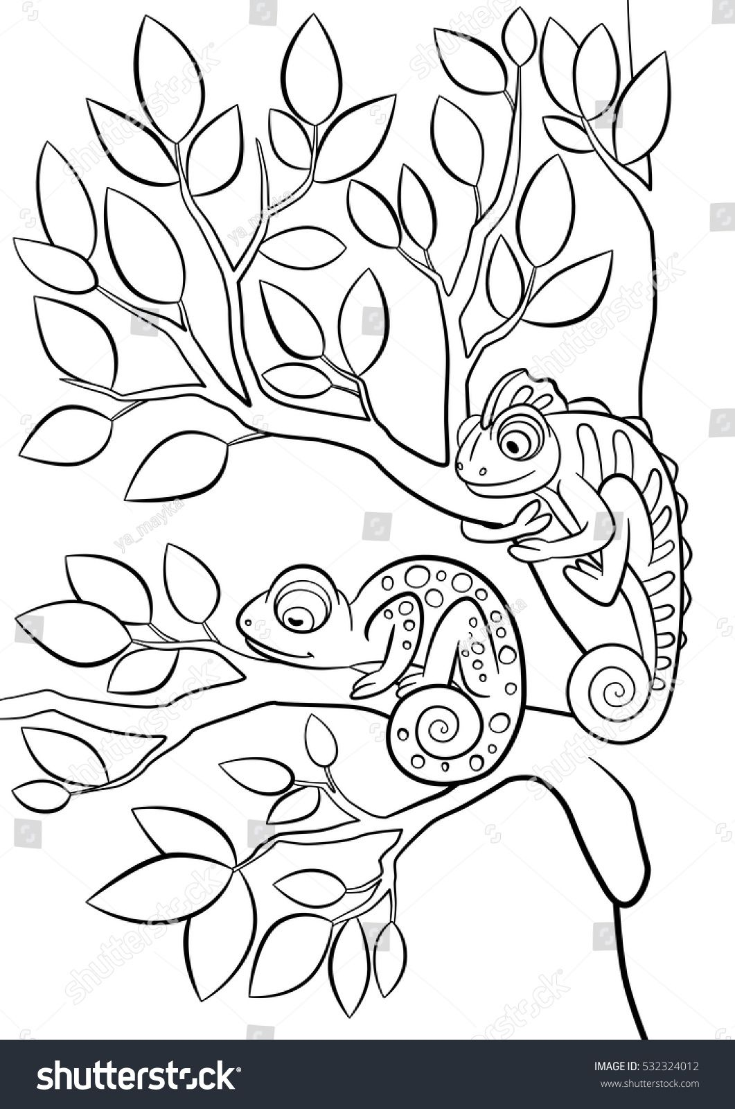 Coloring pages. Wild animals. Two little cute chameleon sits on the ...