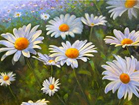 """""""Daisies in the Sun""""  oil on canvas by Robert Casilla, one of the acclaimed illustrators who teaches at the Fred Dolan Art Academy in the Bronx.  This work will be offered at """"Catch the Rising Stars"""" the first annual art auction of works by the Academy's students and teachers.  All money raised will be used to purchase watercolors, easels, oil paints, and healthy lunches for our kids.  For more info, log onto www.freddolanartacademy.com and click on """"Catch the Rising Stars:"""