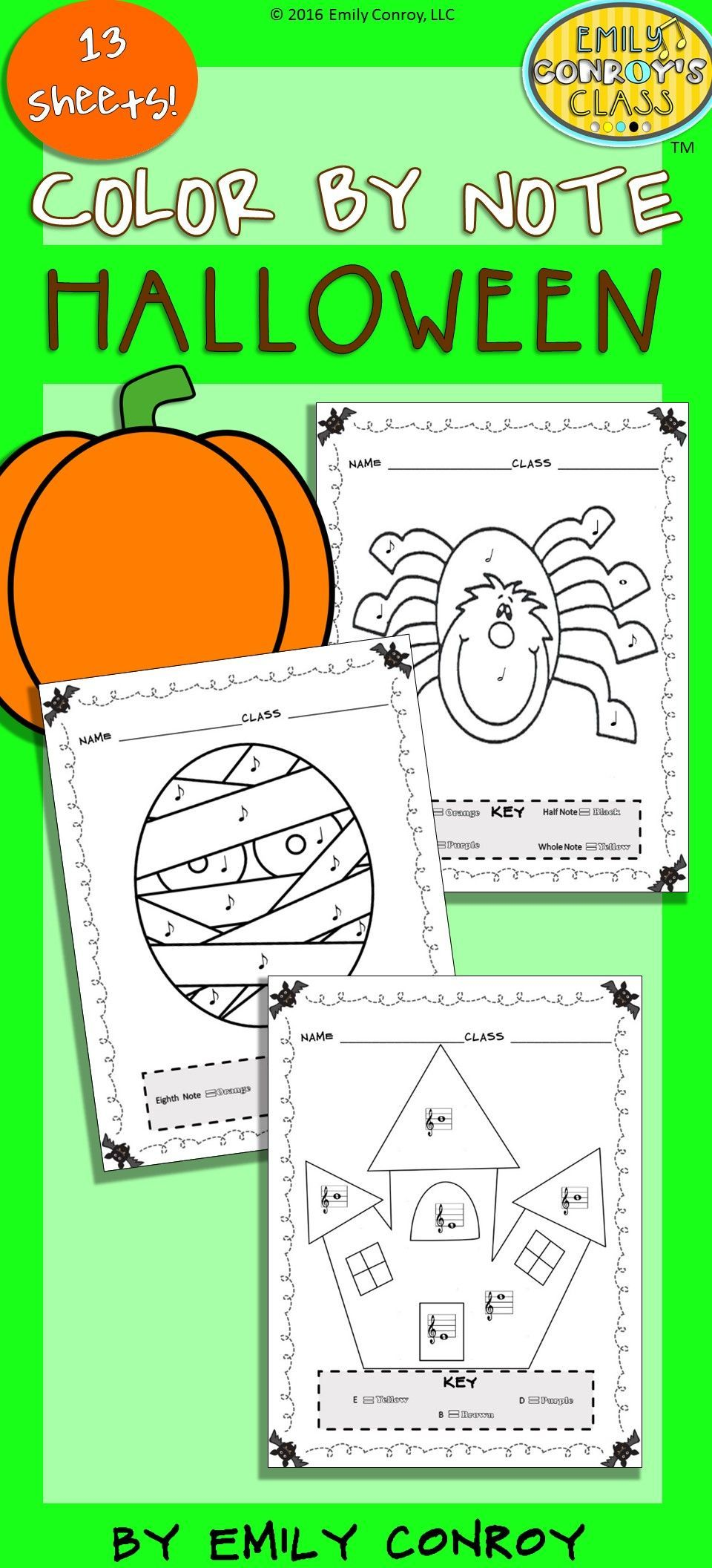 Music Coloring Sheets (Color By Note Halloween) | Elementary music ...