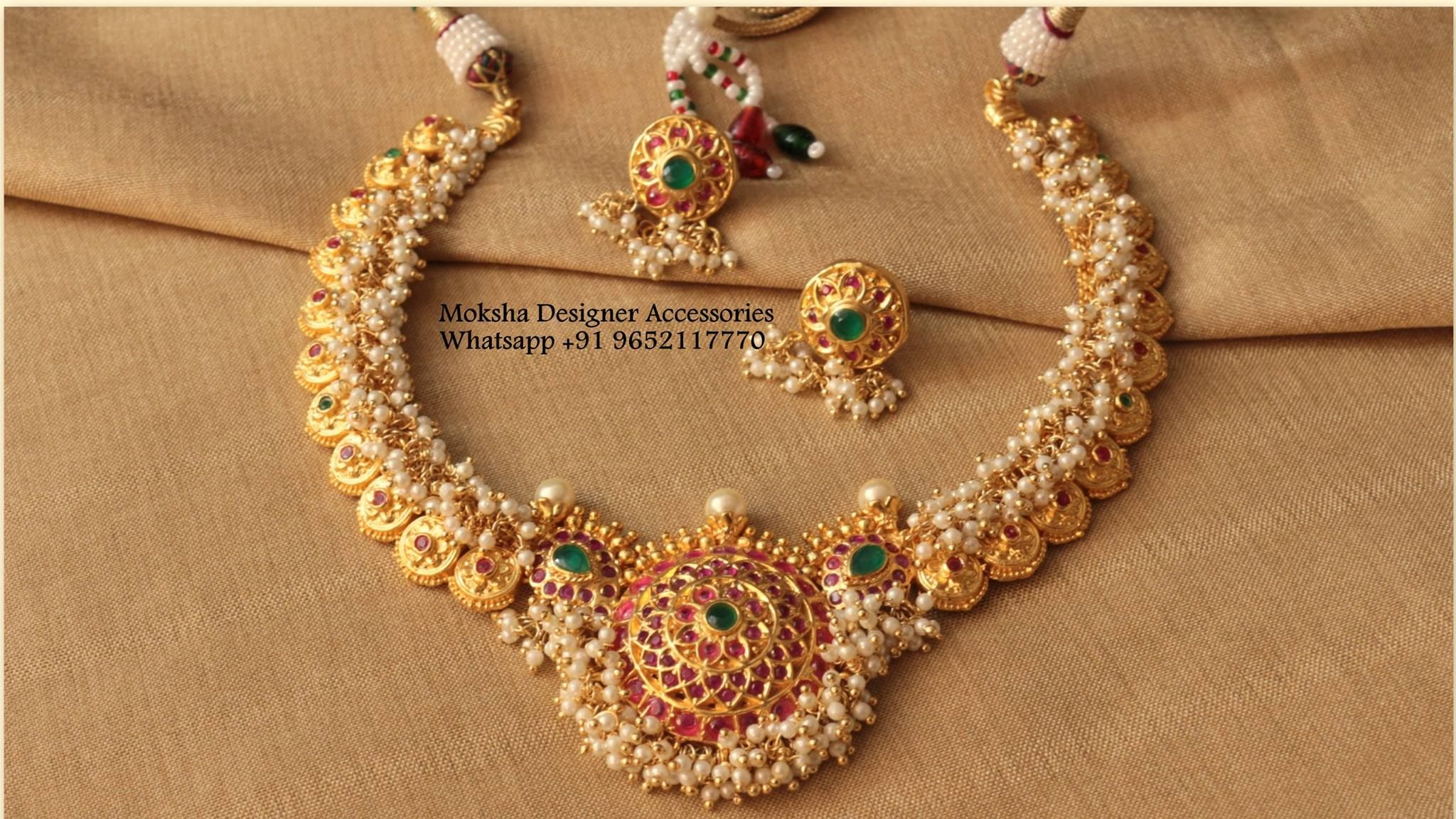 South Indian Style Pearl Necklace Antique Jewellery