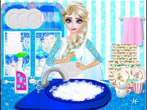New Elsa Washing Dishes 2 - Disney Elsa Princess Frozen Games
