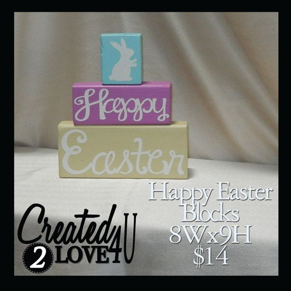 Happy Easter Multi Wood Blocks by Created2Love4u on Etsy, $14.00