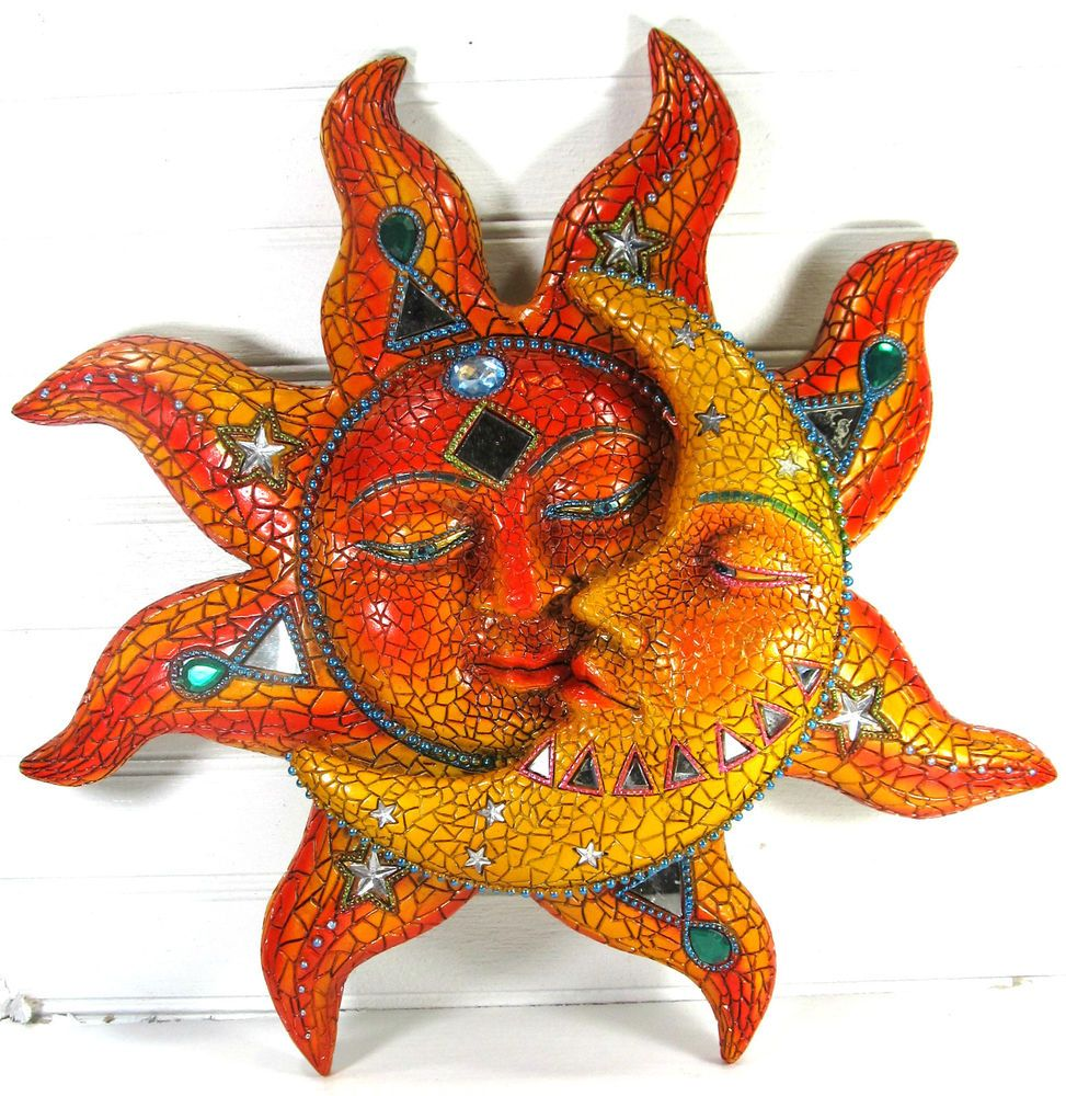 Sun And Moon Wall Art With Jewels And Mirrors Resin Home Decor