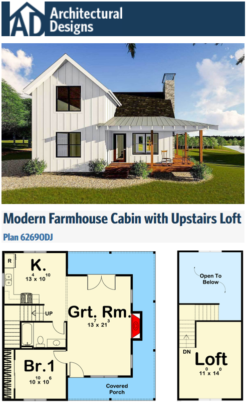 Plan 62690dj Modern Farmhouse Cabin With Upstairs Loft Tiny Houses Plans With Loft Cabin Plans With Loft Small Cabin Plans
