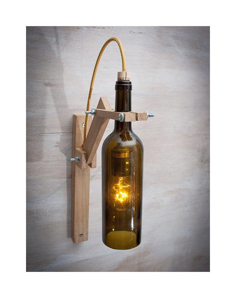 Lámpara pared madera botella marrón lámpara madera Lámpara - pared de madera