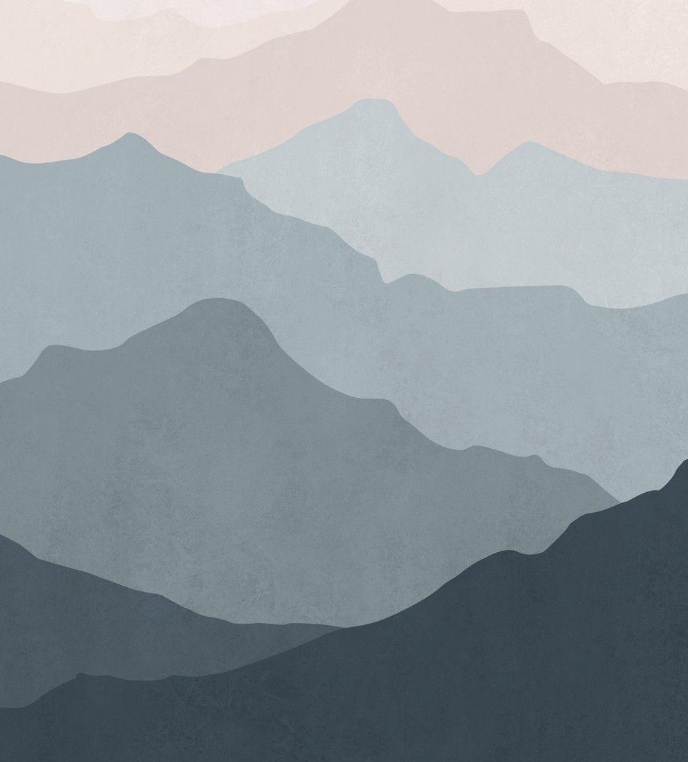Mountain mural wall art wallpaper grayish navy pale pink peel