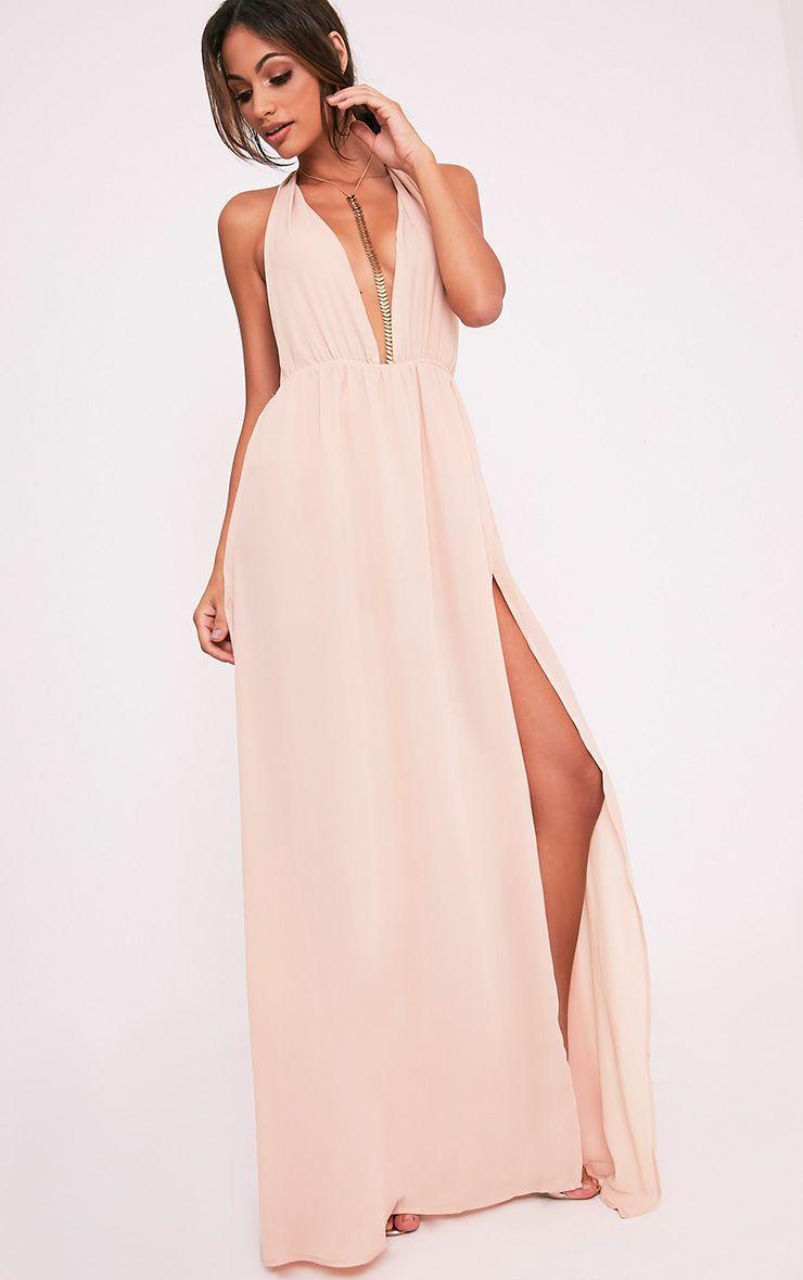 57029f6eb2 Alina Nude Plunge Maxi Dress Image 5