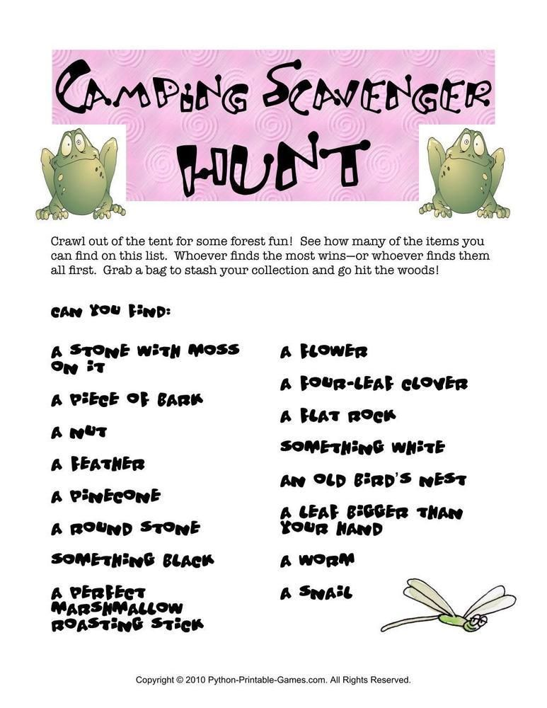Camping Games Scavenger Hunt, $195 Camping Printable Games - refund policy