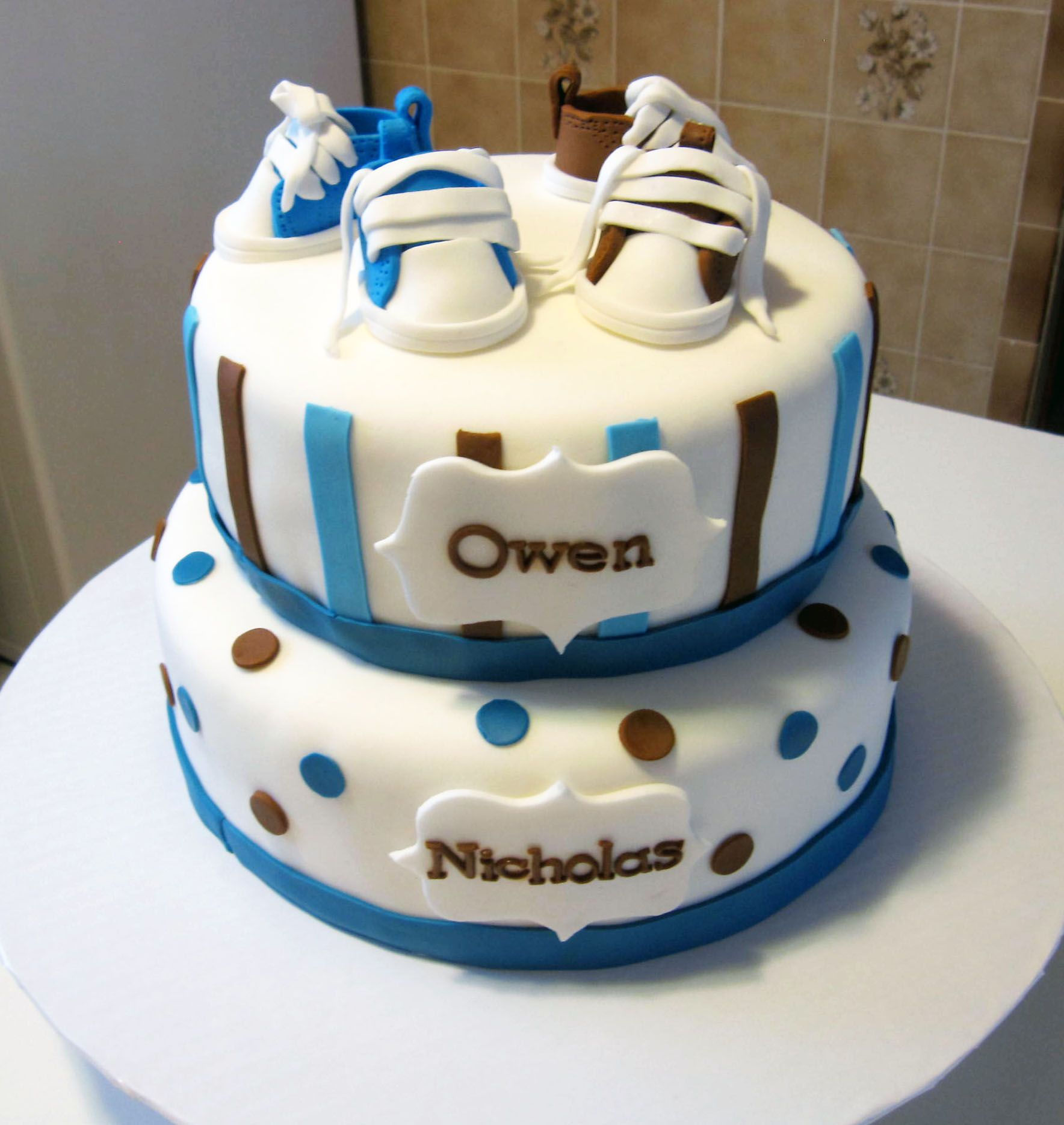 Baby Shower Cake For Twin Boys With Fondant Shoes