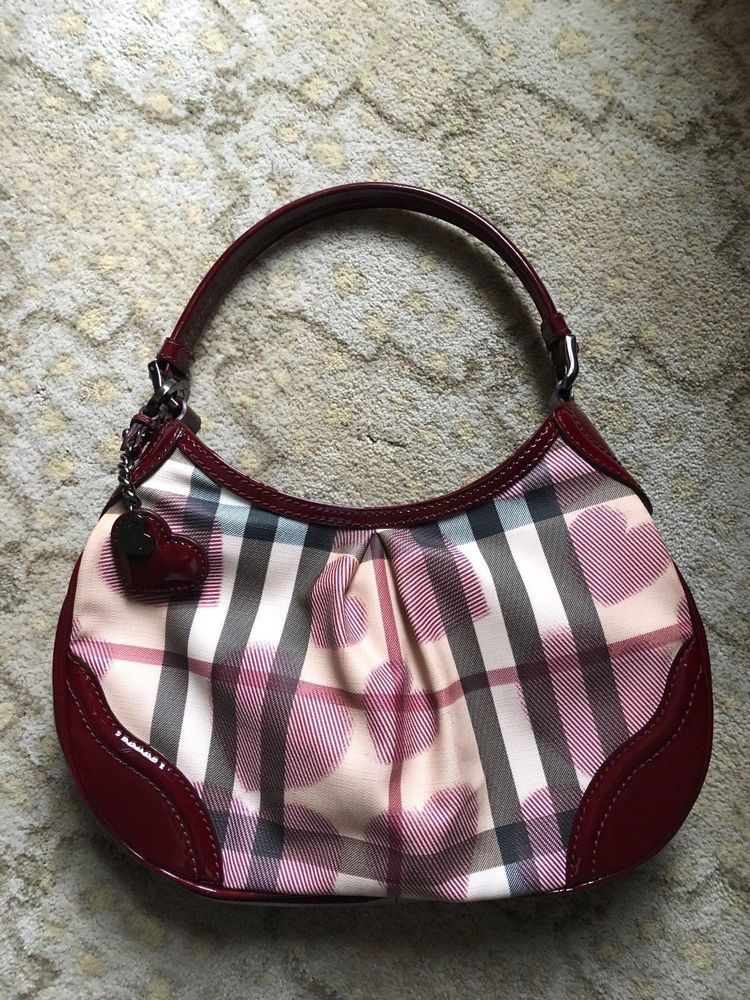 BURBERRY Nova Check With Hearts Shoulder Bag With Patent Leather Trim 0802d37e91721