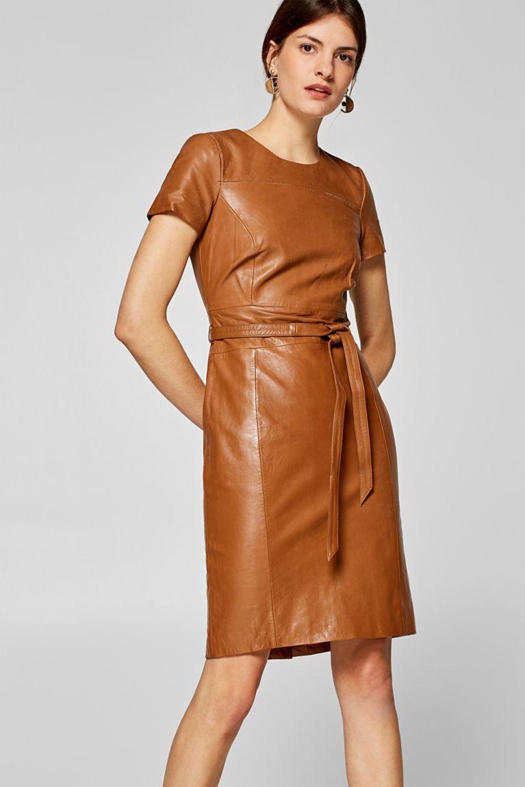 Esprit - Tailliertes Kleid mit Bindegürtel, 10% Leder  Leather