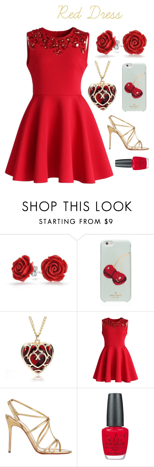 """Red Dress"" by oagraci ❤ liked on Polyvore featuring Bling Jewelry, Kate Spade, Chicwish, Christian Louboutin and OPI"