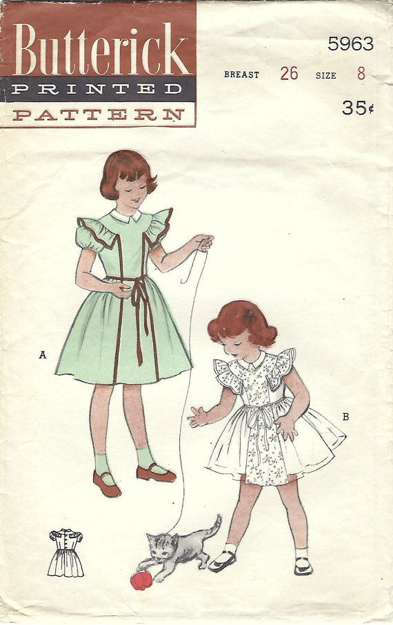1950s Butterick 5963 Vintage Sewing Pattern Girls Party Dress, Party ...