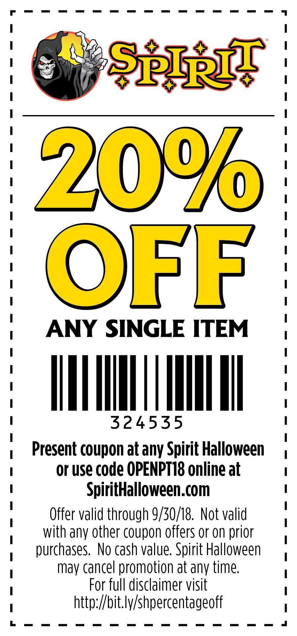 spirithalloween stores are now opening use this coupon for scary good savings at your local store