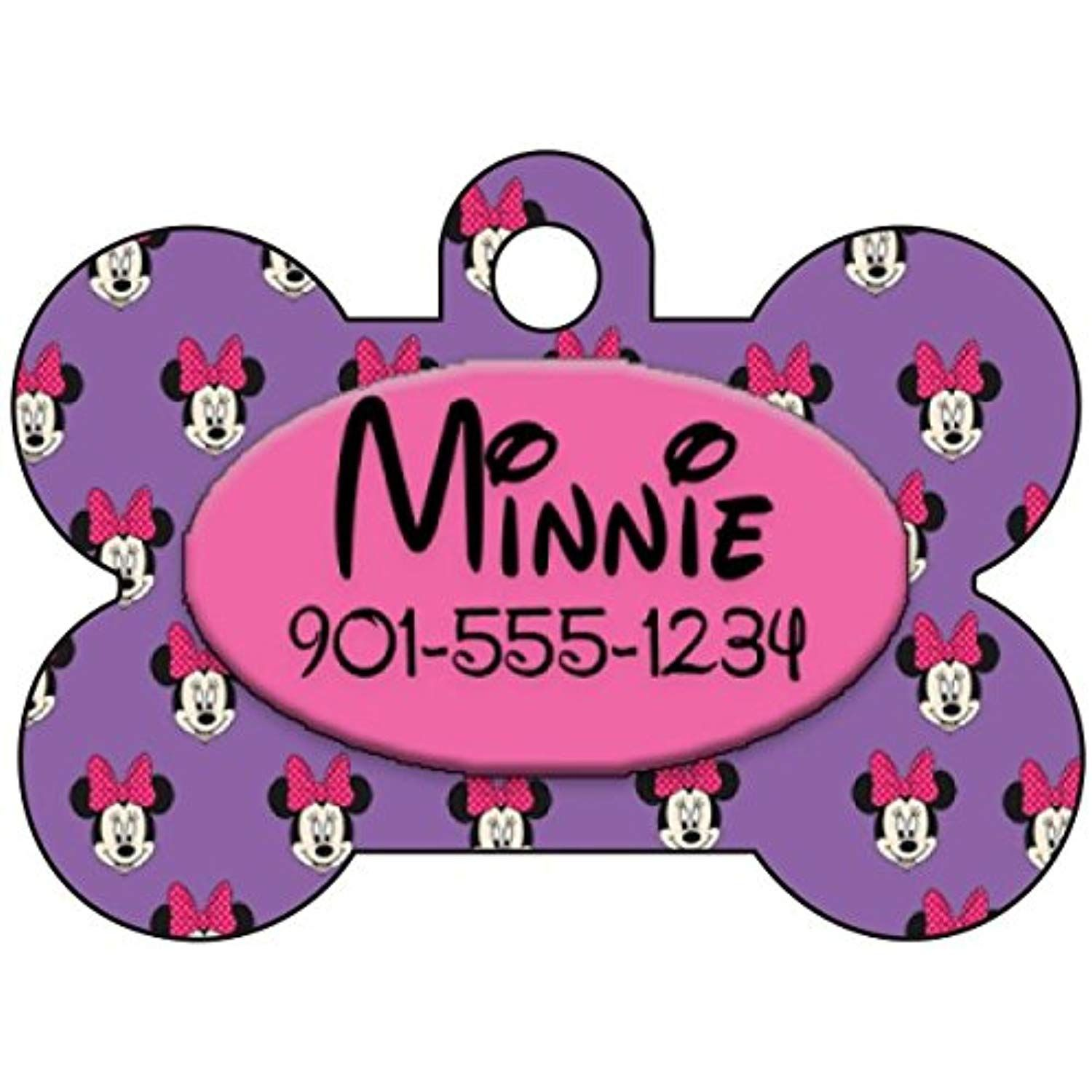 Disney Minnie Mouse Custom Pet Id Dog Tag Personalized w// Name /& Number