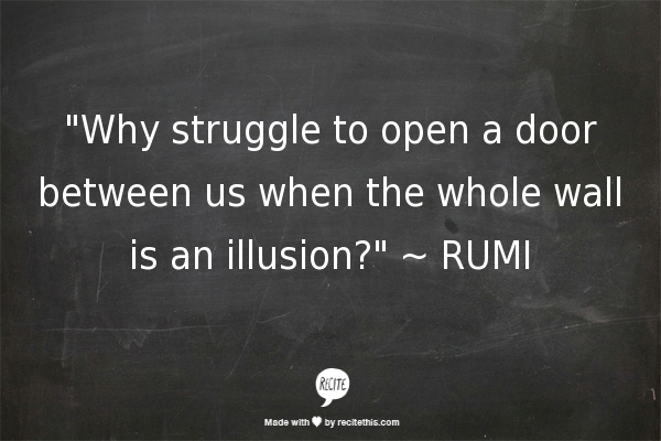 """""""Why struggle to open a door between us when the whole wall is an illusion?""""  ~  RUMI"""