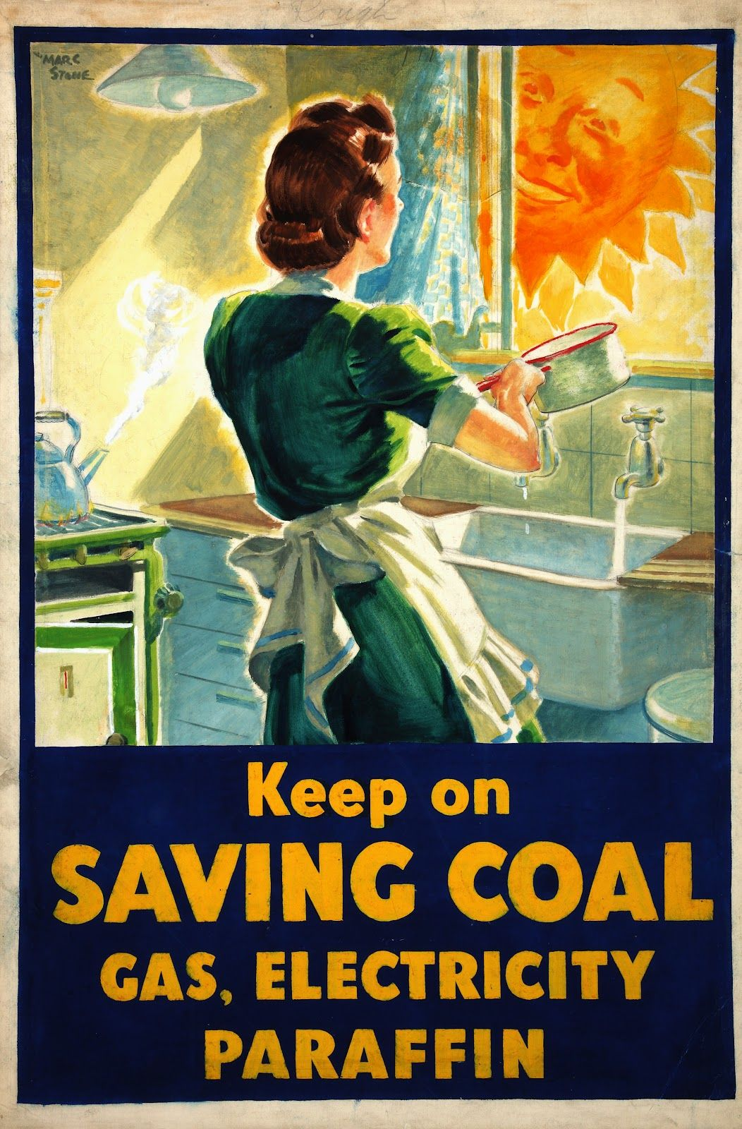 Vintage public info advertising Poster reproduction. Come into the Garden Dad