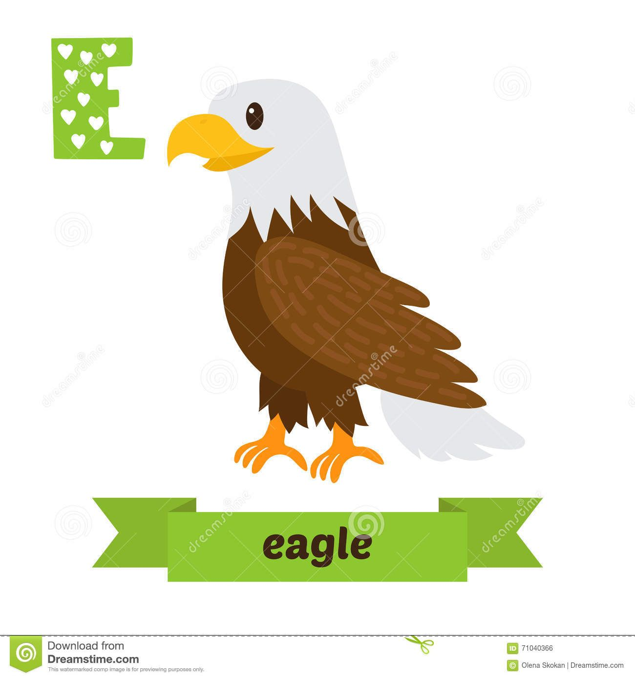 Eagle E Letter Cute Children Animal Alphabet In Vector Funny