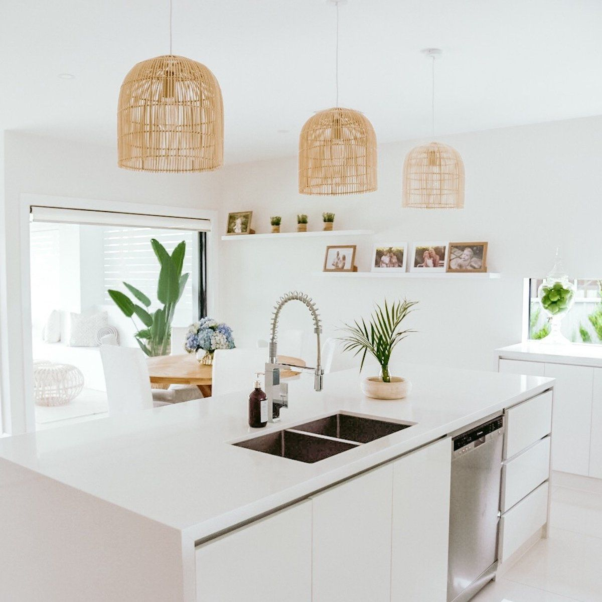 Natural Rattan Cane Pendant Light Siena 2 Sizes in