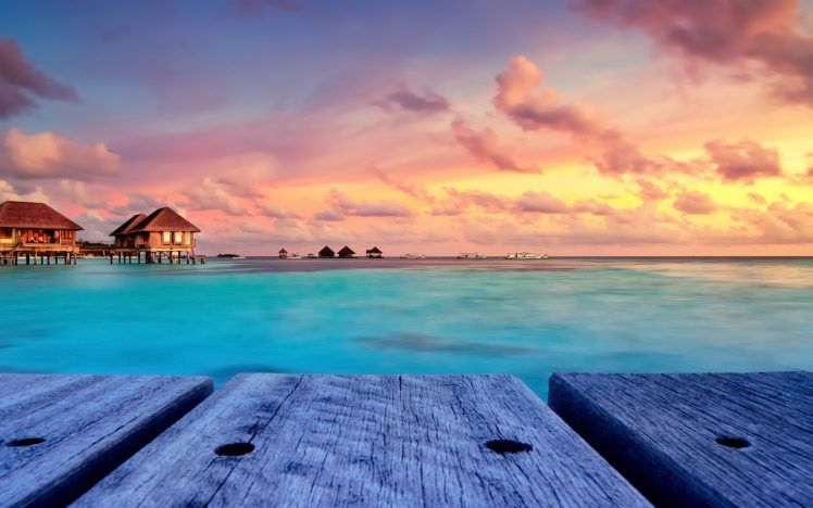 Tropical Beach Nature Sunset Landscape Bungalow Maldives Resort Sky Walkway Island Clo Beach Wallpaper Landscape Wallpaper Desktop Background Nature