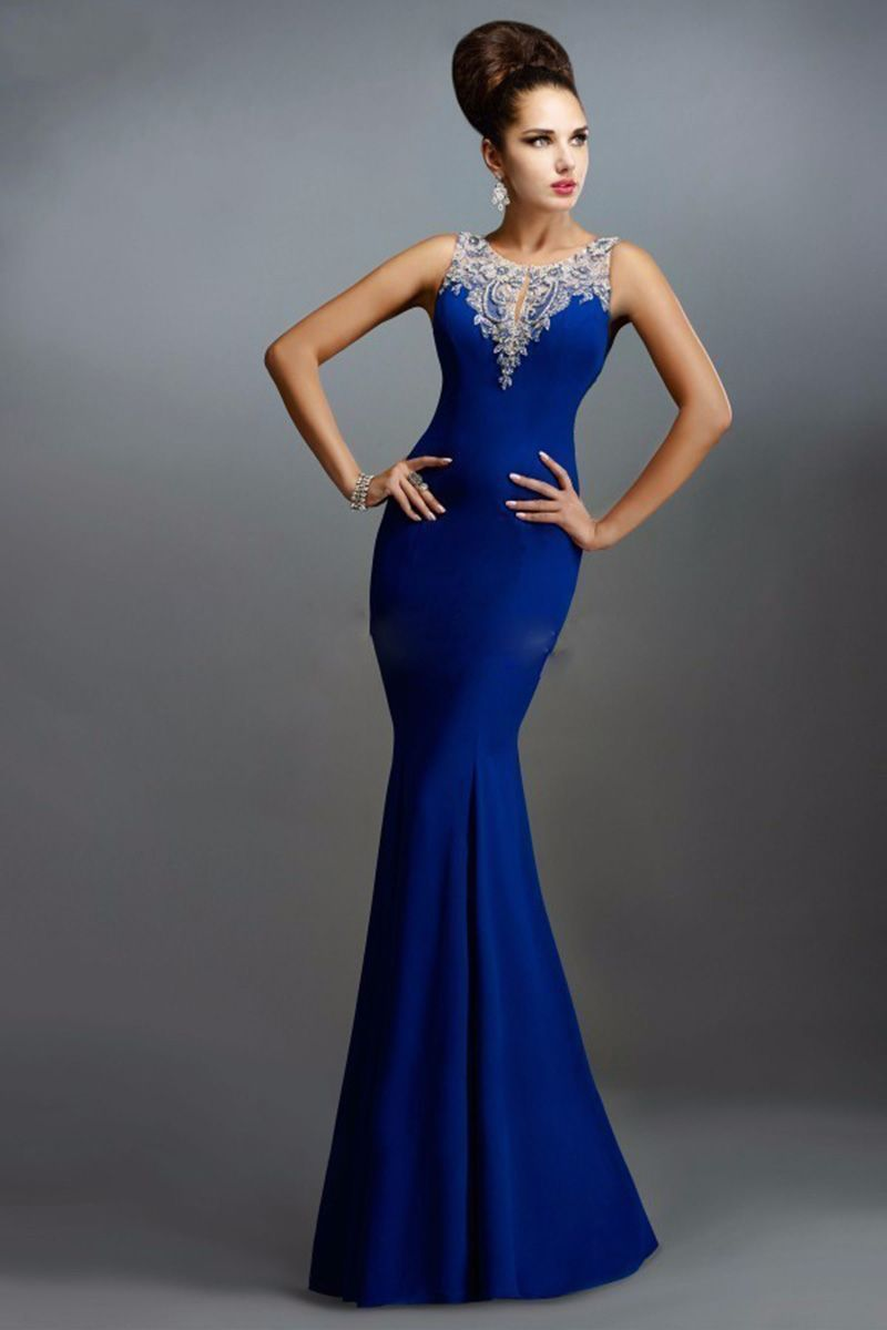 Classical royal blue evening dress long satin back see through prom