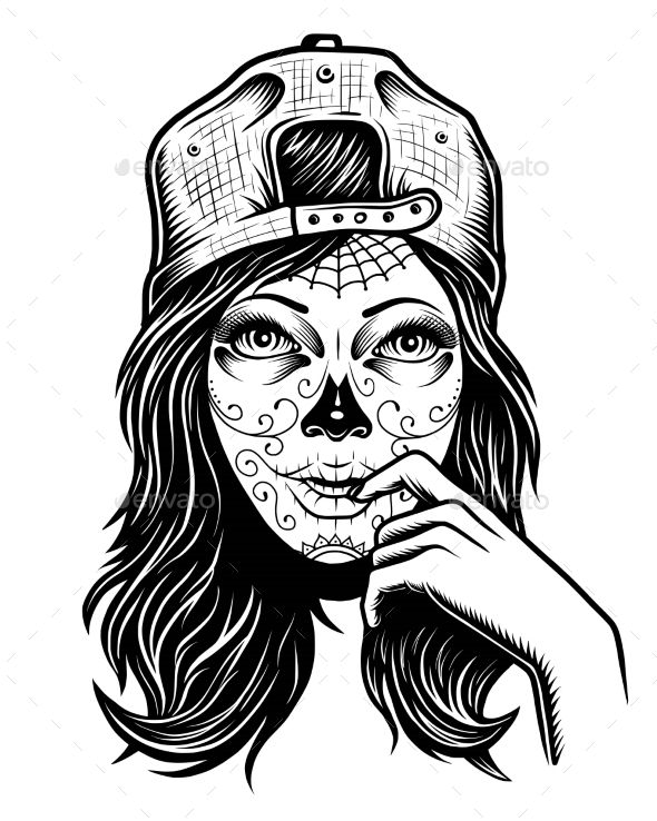 Chicano Art Coloring Pages Illustration of Black and White Skull Girl Skull girl