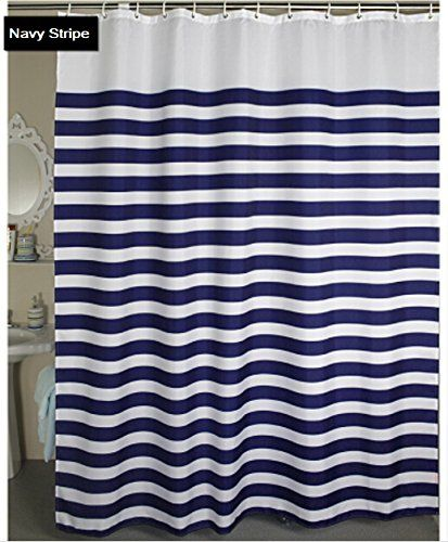 Eforcurtain Nautical Stripes Mildew Free Water Repellent Fabric Shower Curtain Navy And Fabric Shower Curtains Nautical Shower Curtains Water Repellent Fabric