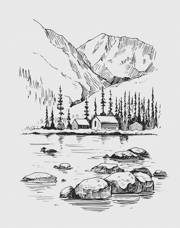 Dziki Krajobraz Z Górami, Jeziorem, Sosnami, Skała